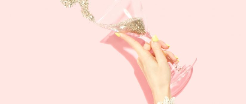 Glitter champagne glass